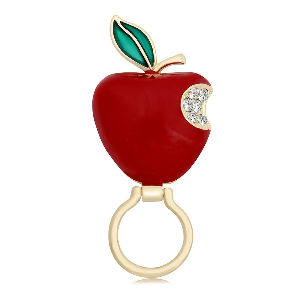 TUSHUO Apple Brooch Enamel Green Leaves Red Apple Magnetic Clip Eyeglass Holder