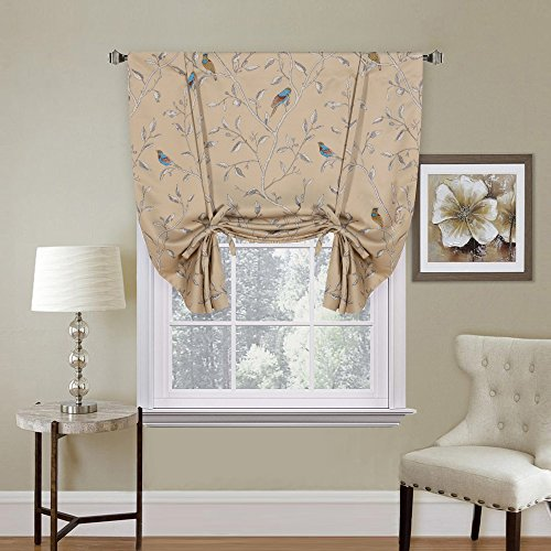 - H.VERSAILTEX Room Darkening Thermal Insulated Short Curtain Adjustable Tie Up Shade Panel for Small Window Taupe Birds Pattern - Rod Pocket, 42
