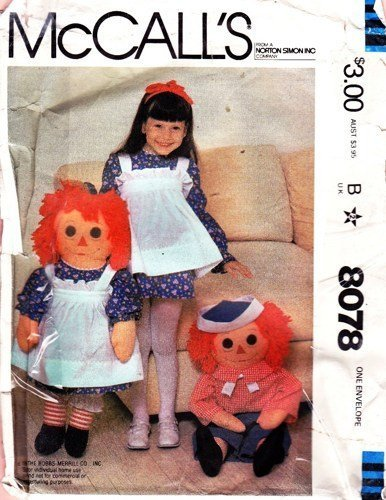 McCall's Sewing Pattern 8078 Raggedy Ann & Andy Doll and Girl's Apron by McCall's