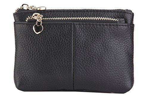 ZORESS Women Genuine Leather Zip Mini Coin Purse With Key Ring Triple Zipper Card Holder Wallet (Black) ()