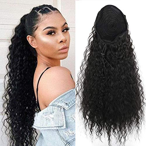 Heat Resistant Synthetic Kinky Straight Ponytail Long Afro Drawstring Hair Bun Extension With Two Plastic Combs Hairpiece ()