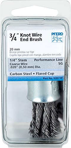 Flared Knot (PFERD 83073P Stem Mounted Power Knot Wire End Brush with Coated Flared Cup, Round Shank, Carbon Steel Bristle, 3/4