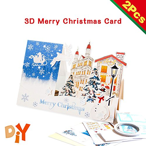 3D Greeting Card, DIY Christmas Card, Pop Up Card Include 2 Cards and Envelopes Gift for Christmas Birthday and New Year - Card Processing Gift