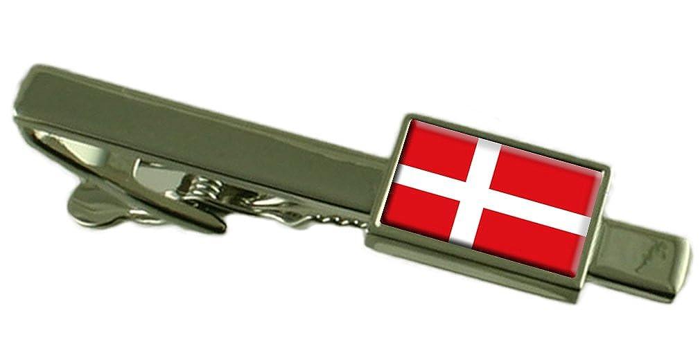 Keepsake Engraved Personalized Case Denmark Flag Tie Clip Bar 55mm