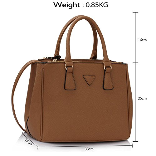 LEESUN LONDON - Bolsa mujer, color gris, talla Large A - Dark/Nude