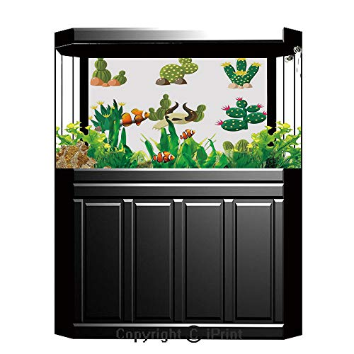 Terrarium Fish Tank Background,Cactus Decor,Mexican South Desert Animals Cactus Plants Skeletons Flowers Cartoon Image,Multicolor,Photography Backdrop for Pictures Party Decoration,W48.03