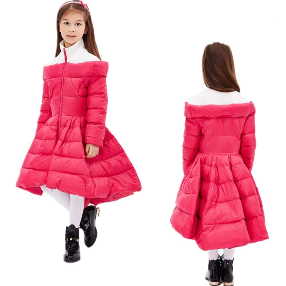 Girls Splicing Design Coat Kids Down Jacket Warm and Windproof Outwear Perfect for Cold Winter Weather