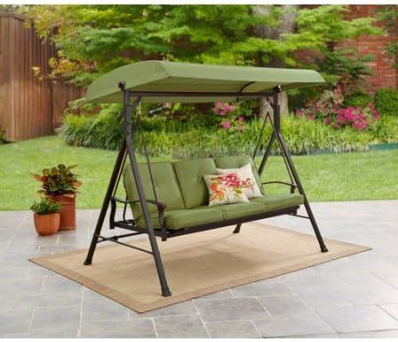 Amazon Com Three Person Porch Swing Plush Cushions In Green