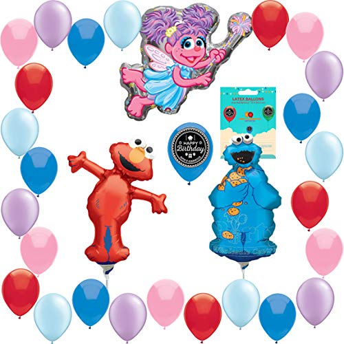 Sesame Street Abby Cadabby Cookie Monster and Elmo Balloon Wall Decoration Air Filled Only No Helium Bundle