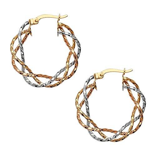 14k Tri Color Gold Braied Hoop Earrings (25 x 25 -