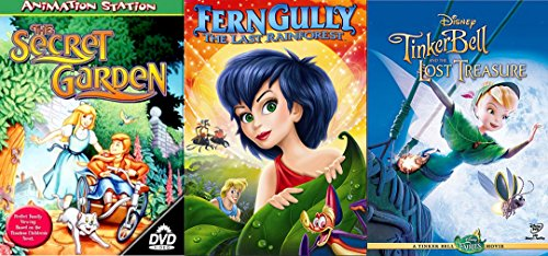 Girls Triple Feature Disney Tinkerbell and the Lost Treasure & Fern Gully- The Last Rain Forest & The Secret Garden Animated Bundle
