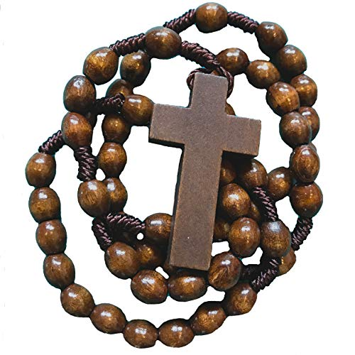 Rosaries For Men | Mens Dark Brown Wooden Rosary Beads | Corded Rosaries with Crucifix (Wood Dark Brown) ()