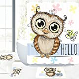 owl bathroom mat Amagical 16 Piece Bathroom Mat Set Shower Curtain Set Funny Cartoon Owl and a Butterfly on a Floral Background with Hello Message Image Bath Mat Contour Mat Toilet Cover Shower Curtain with 12 Hooks