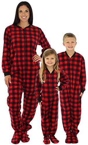 SleepytimePjs Family Matching Red Plaid Fleece Onesie PJs Footed Pajamas f071fbd69