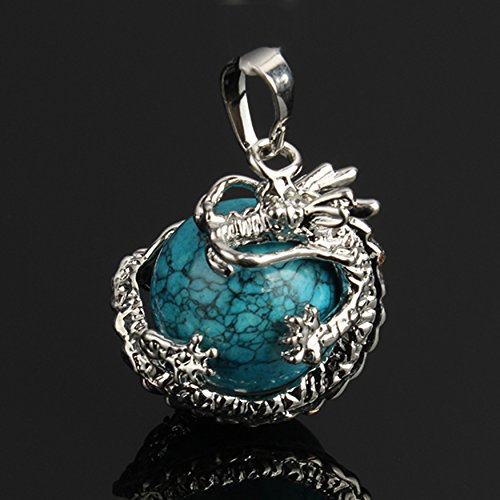 Blue Turquoise Round Gem Stone Necklace Dragon Pendants Charms Craft Jewelry Making Findings DIY