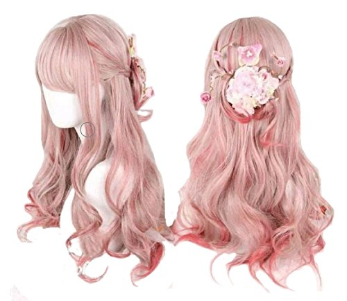 Cosplay Anime (Ombre Long Curly Wig 2 Tone Pink Synthetic Lolita Wigs for Women Full Wigs with Heat Resistant Fiber Cosplay Wigs)
