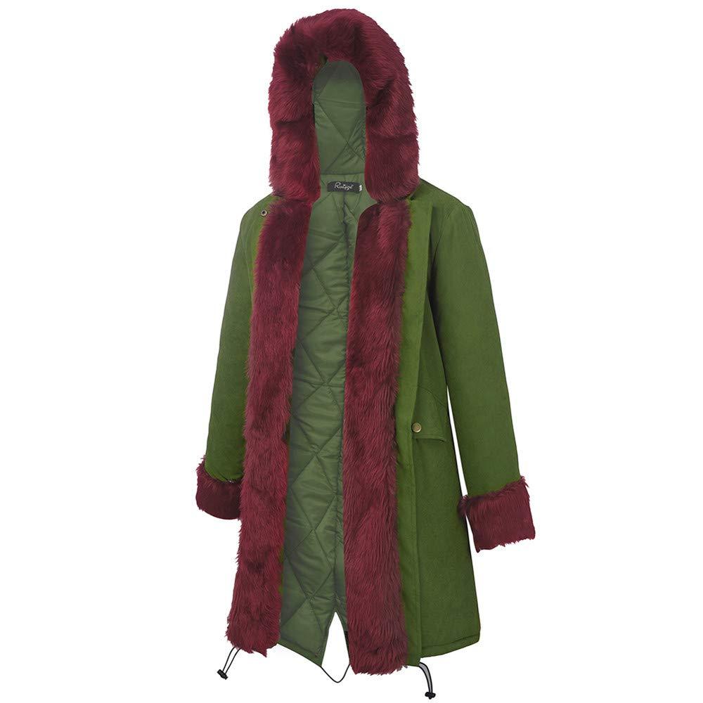 dcb0203f26b MatureGirl Womens Jacket Faux Fur Winter Jacket Parka Hooded Coat Fishtail  Long Sleeves Overcoat (Wine, Small): Amazon.com: Grocery & Gourmet Food