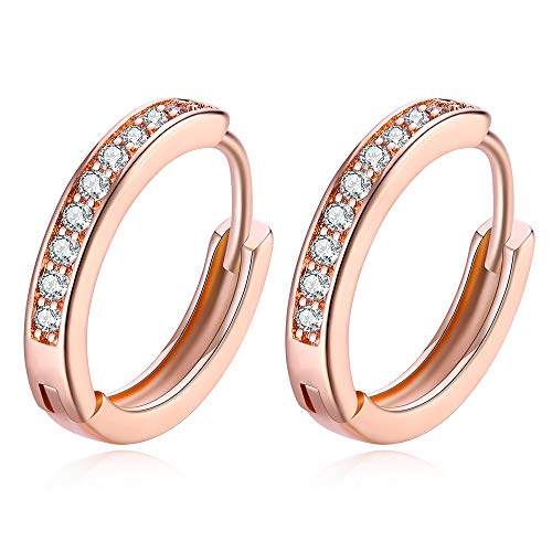 Rose Gold Plated Tone CZ Small Hoop Huggie Earrings For Women Teen Girls jewelry Hypoallergenic, 0.67'' (Earrings Plated Sport Gold)