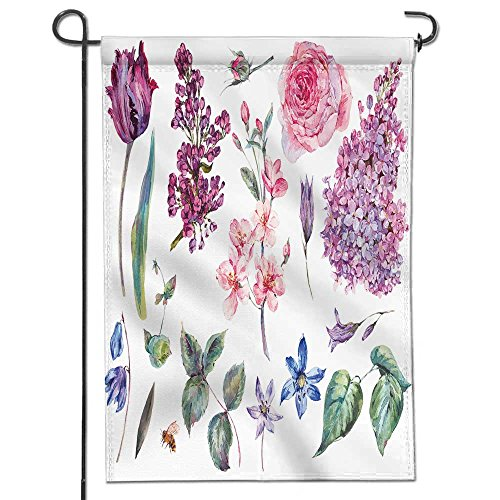 SCOCICI1588 Welcome Garden Flag spring set vintage watercolor bouquet of pink roses leaves blooming branches of peach lilacs Polyester,Great Design Yard Flag to Brighten Up Your Home 12