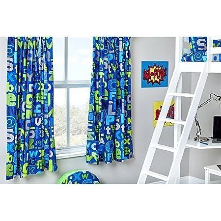 Ready Steady Bed Alphabet Design Children\'s Bedroom Curtains 66\