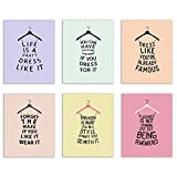 Cute Dress Hanger Quote Prints   For the fashionista in your life, these prints of dress silhouettes with inspirational fashion quotes give a fun, stylish kick to any bedroom or walk-in closet. The soft pastel colors with bold statements mak...