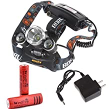 WindFire® 3X CREE XM-L T6 U2 4 Modes Super Bright 5000Lm Headlamp with Adjustable Base Cree LED Lamp Headlight Bicycle Light with AC Charger and 2 x WindFire 18650 Rechargeable Batteries for Camping, Hiking, Climbing, Cycling, Travelling