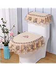 WSHINE Floral Lace Toilet Accessories Tank Cover + Lid Cover + Toilet Seat Cover (1)