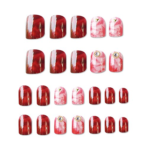Sexy Fashion Red Blue Marble Texture Glossy False Nails Acrylic Artificial Full Fake Nails Nail Art Tips Top ()