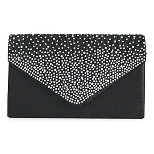 Bag Envelope Women Parties Dinner Clutch Handbag Bags Bridal Black wOqIXwt