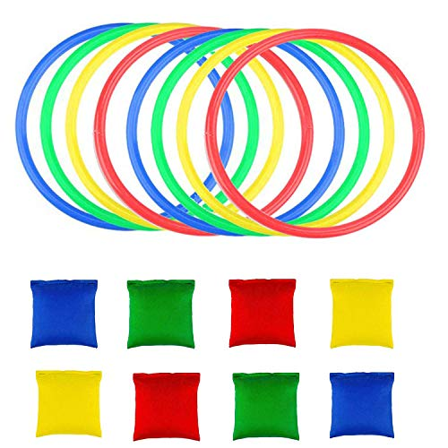 OOTSR 16pcs Nylon Bean Bags Plastic Rings Game Sets for