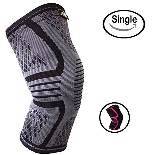 Knee Support Brace For Men & Women By LSR- Knee Compression Sleeve For Exercise, Running, Jogging, Sports- Arthritis, Joint Pain Relief, Surgery Recovery – Single Wrap – 3 Sizes Available