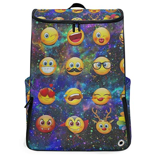 Travel Backpack Space Galaxy Nebula Funny Emoji Sprot Backpack for Women Large Hunting Back Pack