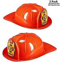 Prextex 2 Piece Pretend Play Red Fireman Hard Plastic Hat (2 Pack)