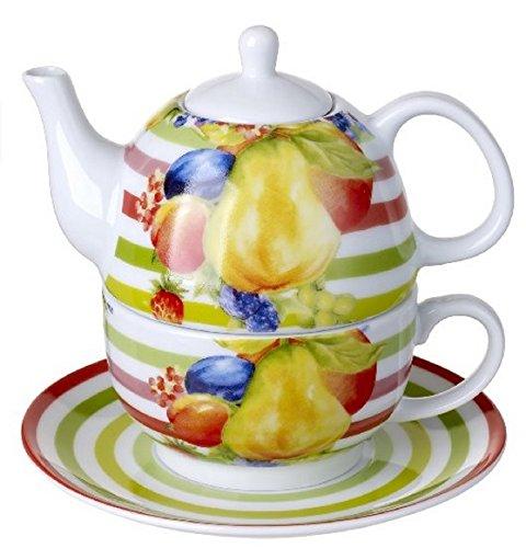5th Avenue Collection 3-Piece Porcelain Tea for One, Stacked Teapot Cup Saucer, Fruit Design Cup Saucer, Fruit Design - Antique White Tea Server
