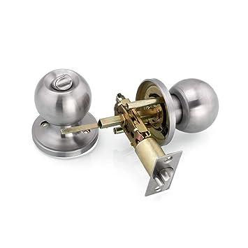 Lvcky - Pomos de Acero Inoxidable para Puerta de Entrada, Cerradura para habitación, Paso, privacidad, Oficina en casa, níquel Cepillado: Amazon.es: Hogar