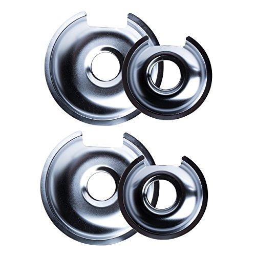 Range Kleen 1056RGE8 Style D Heavy Duty Chrome 4-Pack Drip Pans and 4-Pack Trim Rings Range Kleen (2 Piece Burner)