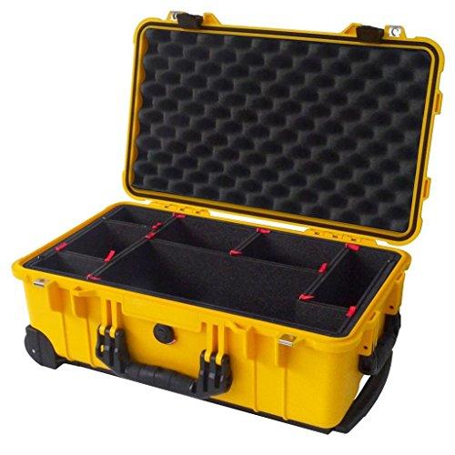 Yellow & Black Pelican 1510 case with TrekPak Divider System.