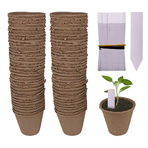 "Huvai 100 Pack 3.15"" Round Biodegradable Peat Pots Plant Seedling Saplings & Herb Seed Starters Kit with 100 Pcs White Plastic Plant Labels"
