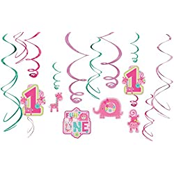 Amscan One Wild Girl 1st Birthday Value Pack Foil Swirl Decorations, Small, Pink/Green