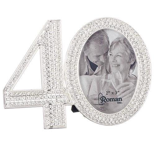 - Rhinestone Bead Encrusted 40th 3 x 4.5 inch Zinc Alloy Table Top Picture Frame