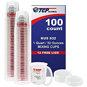 (Full Case of 100 each - Quart (32oz) PAINT MIXING CUPS) by Custom Shop - Cups are Calibrated with Multiple Mixing Ratios (1-1) (2-1) (3-1) (4-1) (8-1) BOX of 100 Cups includes 12 bonus Lids