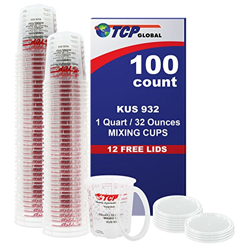 Kus Quick Mix Cups - (Full Case of 100 each - Quart (32oz) PAINT MIXING CUPS) by Custom Shop - Cups are Calibrated with Multiple Mixing Ratios (1-1) (2-1) (3-1) (4-1) (8-1) BOX of 100 Cups includes 12 bonus Lids