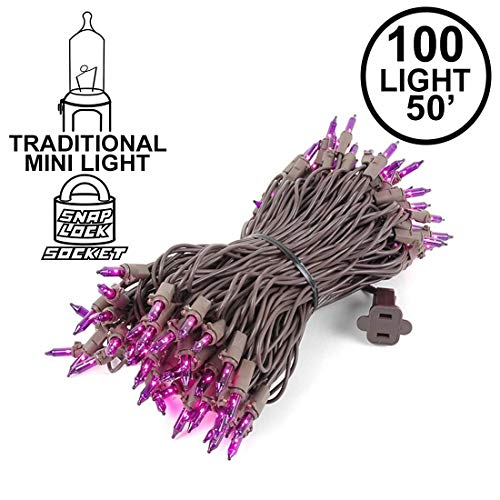 50 Foot 100 Light Outdoor Commercial Grade Christmas Mini Light Set, Purple, Brown Wire