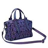 Geometric Holographic Luminesk Purses Flash Reflective Satchels Bags with Zipper Closure Handbags Medium Boston Bag
