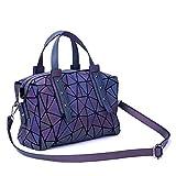 Harlermoon Geometric Holographic Luminesk Purses Satchels Bags with Zipper Closure Reflective Handbags Medium Boston Bag