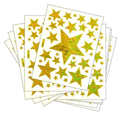 5 Size Gold Star - 10 Sheets Glitter Gold Star Metallic Foil Decorative Scrapbook, Reflective Stickers for Kids - Size 4 X 5.25 Inch./sheet
