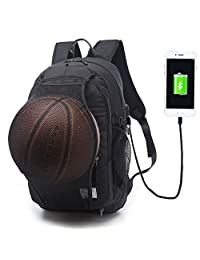 Keynew Laptop Backpack with Basketball Net USB Charging Port Water Resistant Anti Theft 15.6 inch Computer Travel Shoulder Bag and Basketball Net - Black