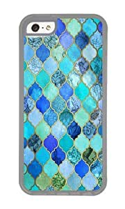 Zheng caseApple Iphone 5C Case,WENJORS Cute Cobalt Blue Aqua Gold Decorative Moroccan Tile Pattern Soft Case Protective Shell Cell Phone Cover For Apple Iphone 5C - TPU Transparent
