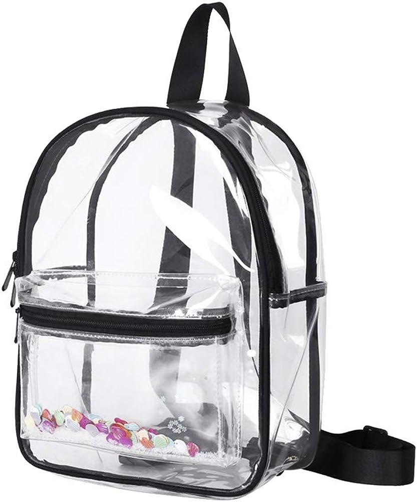 BLagenertJ Mini Transparent Sequins School Backpack Waterproof Travel Tote Backpack Shoulder Bag for Women Christmas Gift