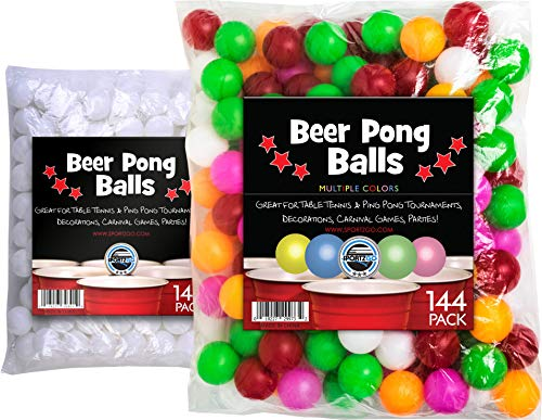 sportly 144 Color Beer Pong Balls- Great for Table Tennis & Ping Pong Tournaments, Carnival Games, Parties, By